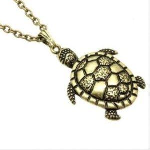 """Sea Turtle Necklace Gold 30"""" X-Long Plus Size"""